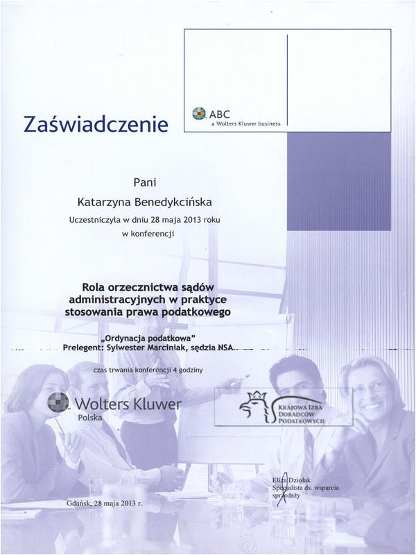 Rola orzecznictwa sądów administracyjnych w praktyce stosowania prawa podatkowego 2013